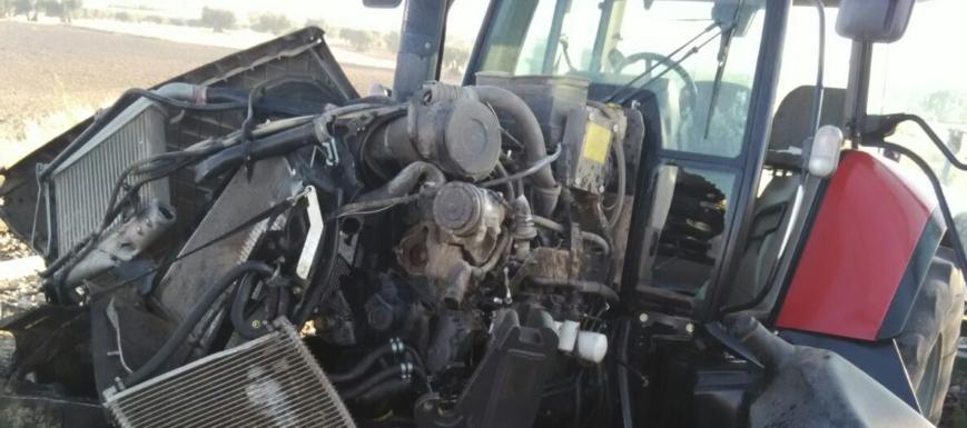 Imagen del choque de un tren y un tractor en Carmena