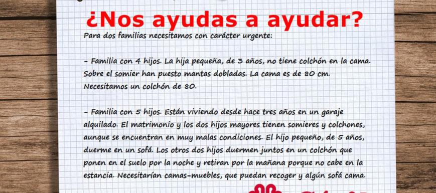 Anuncio para ayudar a las familias. Fuente: Cáritas de Toledo