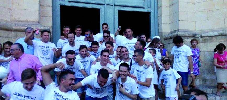 La alegría del Albacete tras lograr el ascenso