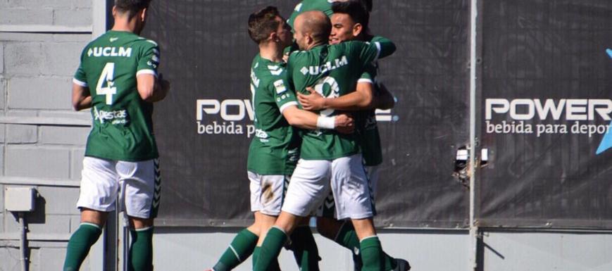 Alegría de los jugadores del Toledo en el Cerro del Espino