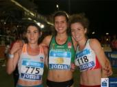 El podio de los 3.000 metros obstáculos; María José Pérez es la primera por la izquierda